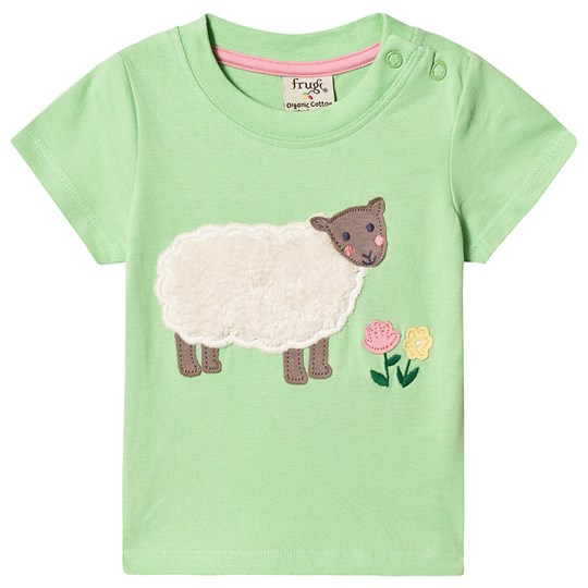 Frugi Little Polkerris Applique Tee Green Soft Green Sheep