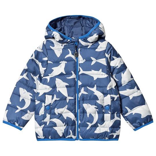 Frugi Toasty Trail Jacket Blue Shark Scilly Shark School