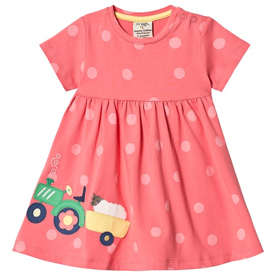 Frugi Jersey Tractor Dress Coral Coral Polka Dot/Tractor