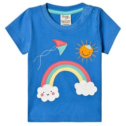 Frugi Little Creature T-Skjorte Sail Blue/Rainbow