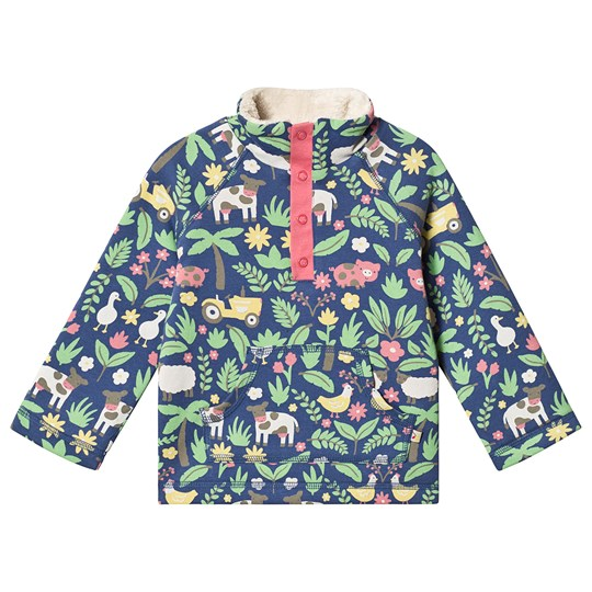 Frugi Floral Farm Snuggle Fleece Sweatshirt Navy Marine Blue Farm Floral