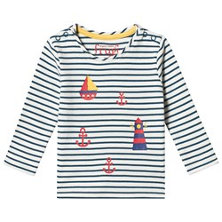 Frugi Everest Printed T-shirt Puffin Blue Breton/Lighthouse