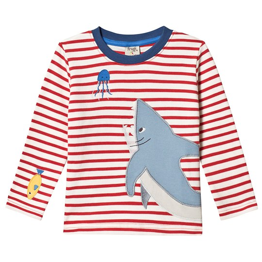 Frugi Joe Applique Shark T-shirt Röd Tomato Breton/Shark
