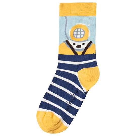 Frugi Diver Perfect Pair Socks Blue Marine Blue Stripe/Diver