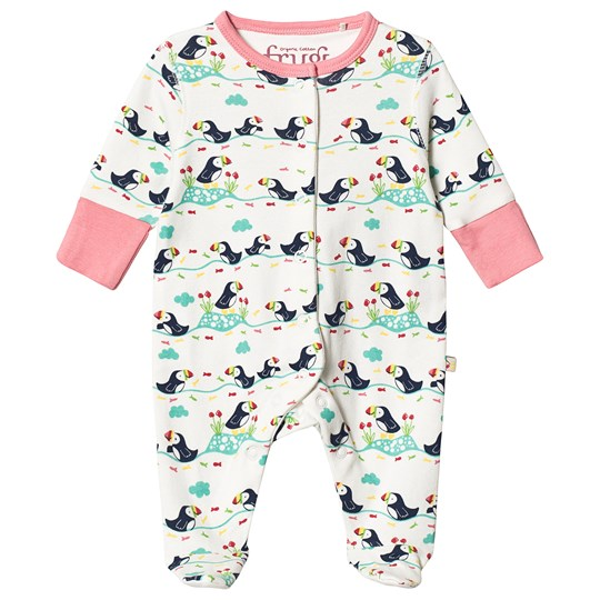 Frugi Lovely Footed One-Piece Soft White Soft White Puffin Parade