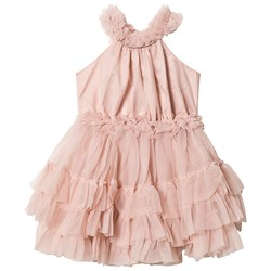 DOLLY by Le Petit Tom Chiffong Dans Klänning med Volanger Ballet Pink