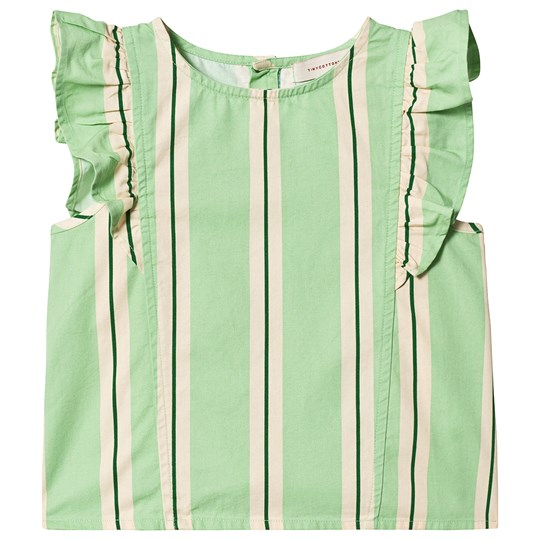 Tinycottons Retro Stripes Ruffles Blouse Emerald/Cream emerald/cream