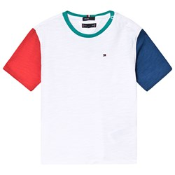 Tommy Hilfiger White, Red and Blue Contrast Sleeve Tee