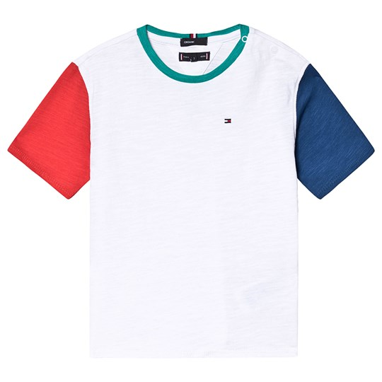 Tommy Hilfiger White, Red and Blue Contrast Sleeve Tee 123