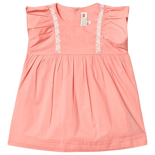 Bonpoint Peach Ruffle Dress with Embroidery 022C