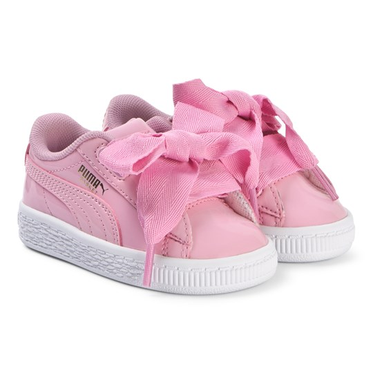 Puma Pink Patent Ribbon Lace Branded Trainers Prism Pink