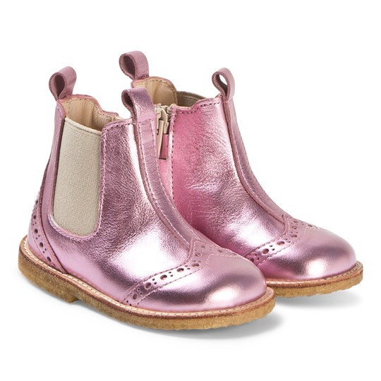 Angulus Metallic Pink Heart Brogue Detail Chelsea Boots 8456