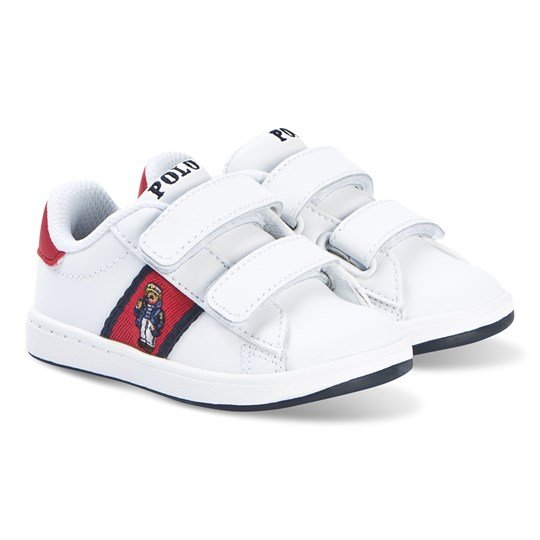 Ralph Lauren Quilton Bear Sneakers Vit White Leather