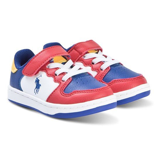Ralph Lauren Multi Colour Pony Jessup Ez Velcro Trainers Red/Royal Smooth/ Yellow w/ Royal PP