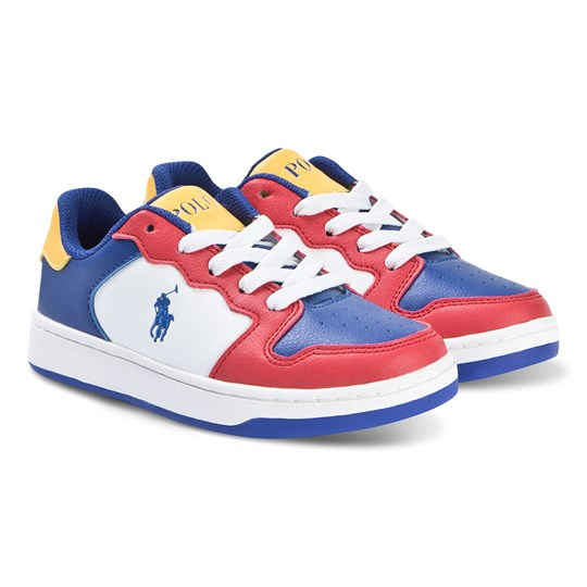 Ralph Lauren Multi Colour Pony Jessup Laced Trainers Red/Royal Smooth/ Yellow w/ Royal PP