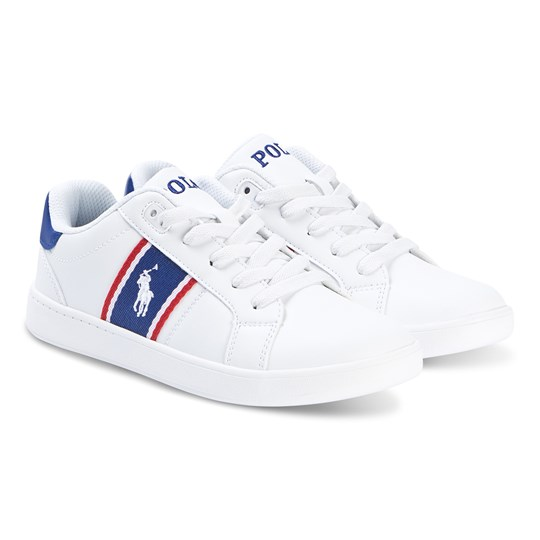 Ralph Lauren White Pony Quigley Leather Laced Trainers White Smooth/Royal Red w/White PP