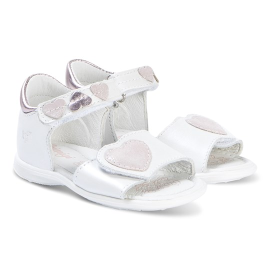 Primigi White Heart Velcro Leather Sandals Bianco