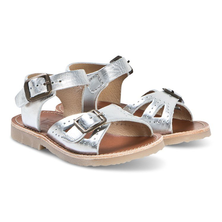 5edeea694c0 Young Soles. Silver Leather Pearl Sandals