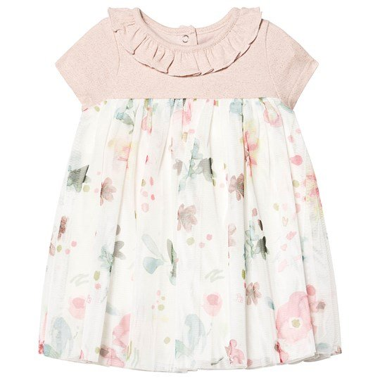 Petit Bateau Floral Tulle Baby Dress Pearl Pink PEARL/MULTICO