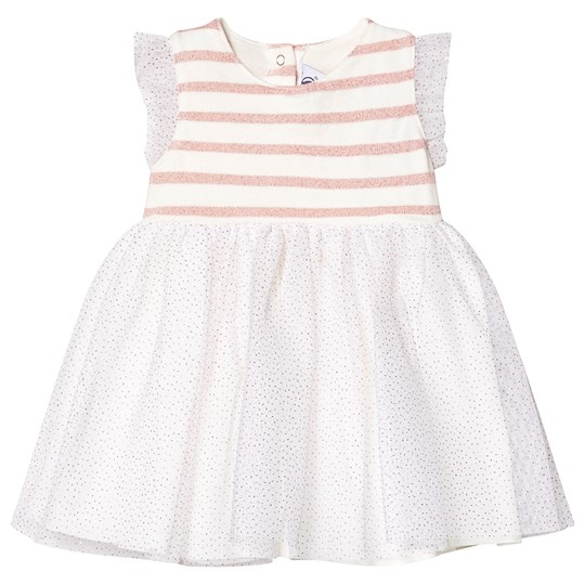 Petit Bateau Striped Tulled Baby Dress Marshmallow White MARSHMALLOW/JOLI BRILLANT