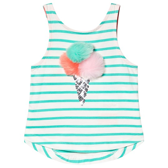 Tom Joule Green and White Stripe Ice Cream Pom Pom Tank Top Green Stripe Ice Cream