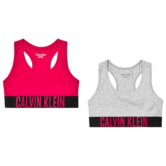 Calvin Klein Branded Bralette 2-Pack Pink and Grey 645