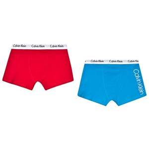 Image of Calvin Klein Branded Trunks 2-Pack Blue and Red 10-12 years (3129561707)