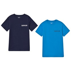 Calvin Klein Branded Tee 2-Pack Blue and Navy
