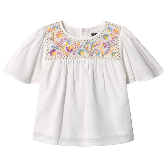 Velveteen White Floral Embroidered Flutter Sleeve Top WCV