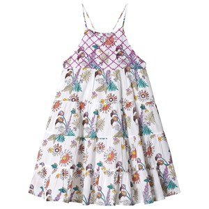 Image of Velveteen White Floral Print Tiered Dress 3 years (1228158)
