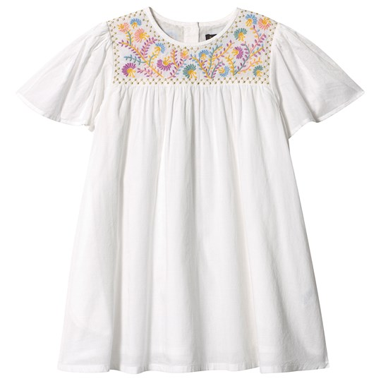 Velveteen White Floral Embroiderd Flutter Sleeve Dress MCV