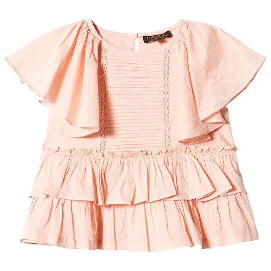 Velveteen Peach Pin Tuck Tiered Blouse PCV