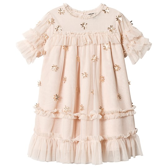 Velveteen Pale Pink Floral Applique Ruffle Dress EBM