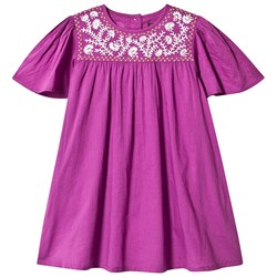 Velveteen Purple Floral Embroidered Dress