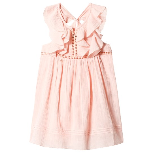 Velveteen Peach Ruffle Butterfly Sleeve Dress STG