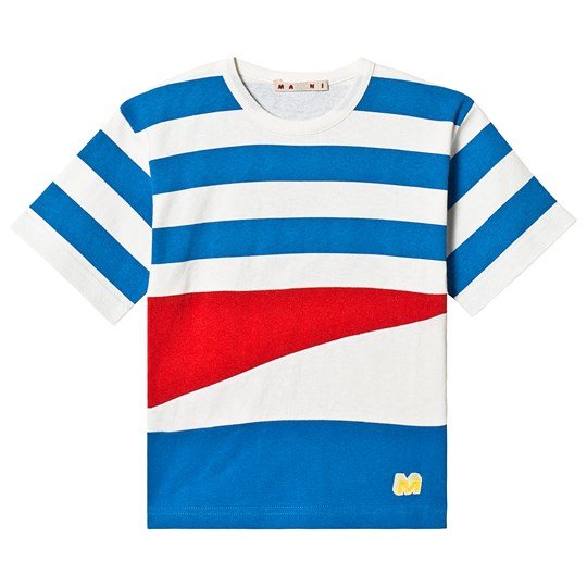 Marni Blue and White Stripe Block Colours Tee 0M821