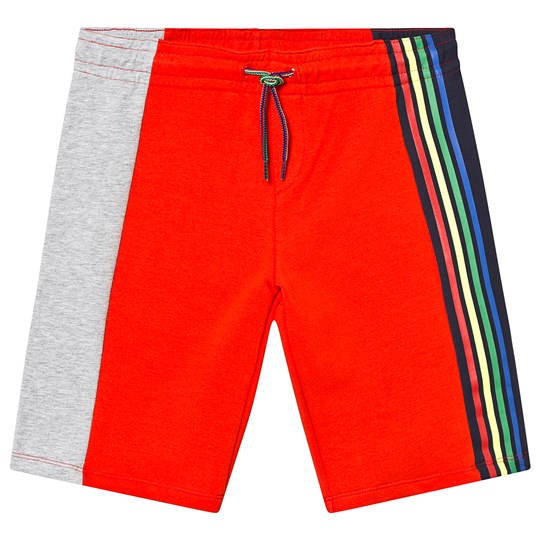 Paul Smith Junior Red Grey and Navy Colour Block Sweatshorts with Multi Stripe Detail 340