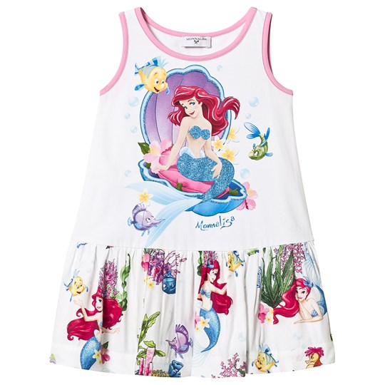 Monnalisa Little Mermaid Glitter Dress Hvid 99