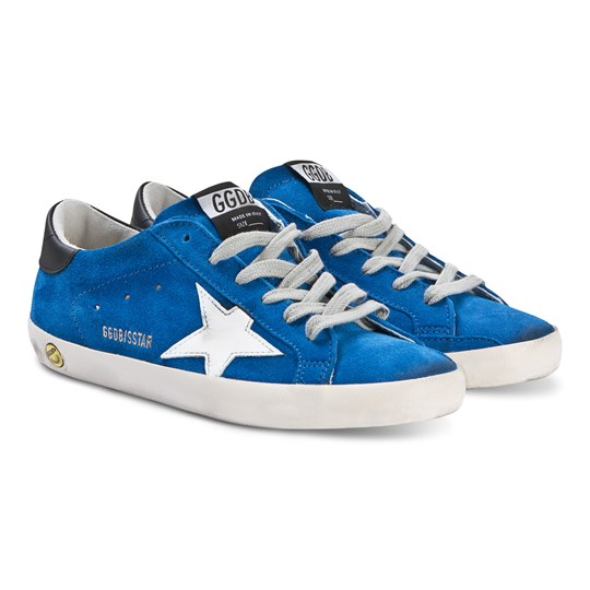 Golden Goose Blue Superstar Sneakers with Silver Star BLU SEA-WHITE STAR