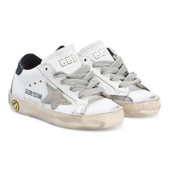 Golden Goose White and Blue Superstar Sneakers WHITE BLUE CREAM SOLE