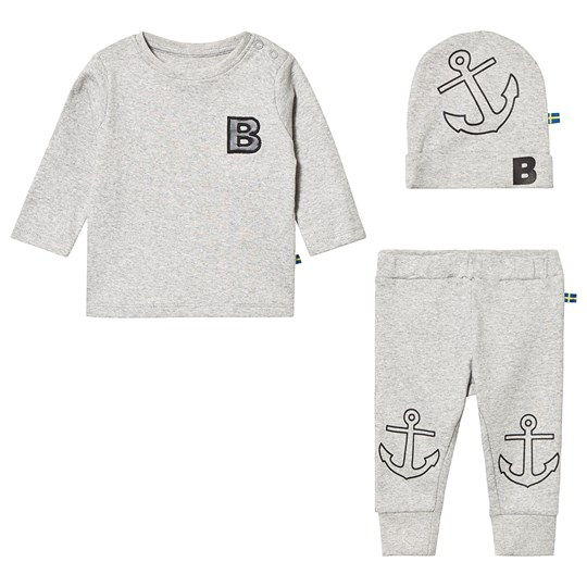 The BRAND Tee and Pant Baby Set Grey Melange
