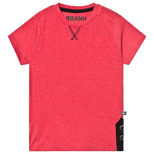 The BRAND TEE W BUTTONS RED MELANGE