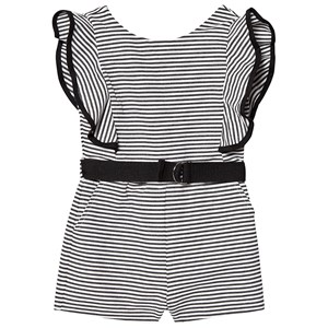 Bilde av Bardot Junior Black And Ivory Stripe Ruffle Sleeve Belted Playsuit 14 Years