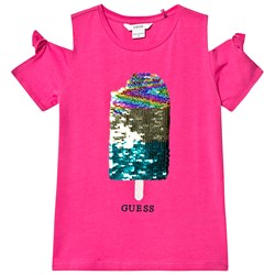 Guess Fuchsia Reversible Sequin Ice Lolly Cold Shoulder Tee