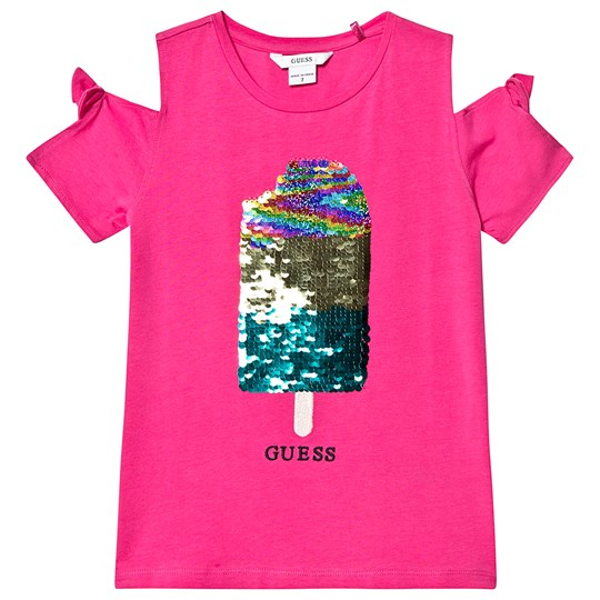 Guess Fuchsia Reversible Sequin Ice Lolly Cold Shoulder Tee JLPK