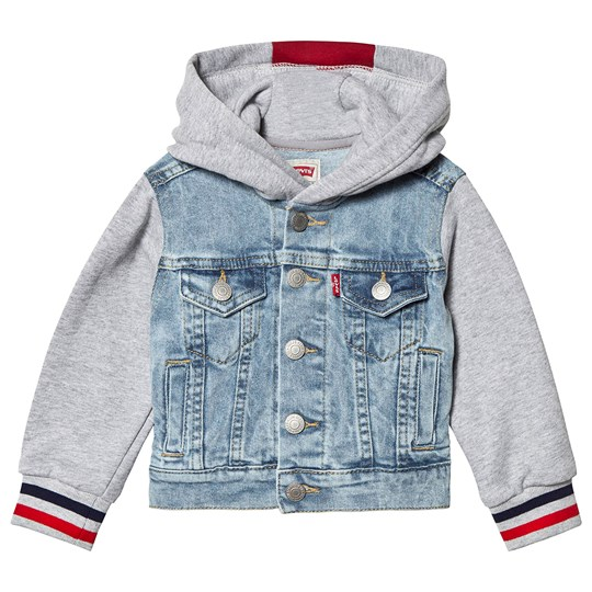 Levis Kids Blue Denim Jacket with Jersey Sleeves and Hood 46