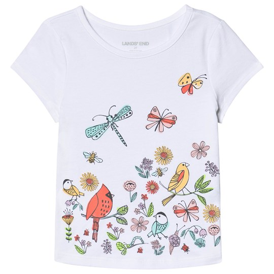 Lands' End White Birds and Butterfly Print Tee IIQ