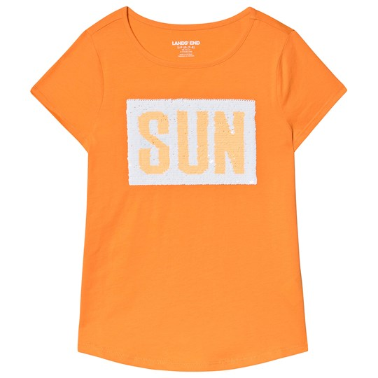 Lands' End Orange Fun Sun Sequin Tee J3T
