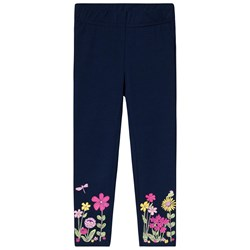 Lands' End Navy Floral Print Leggings