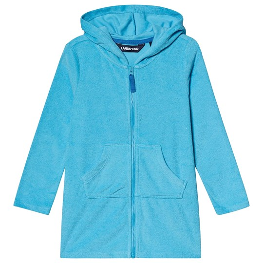 Lands' End Tuqruoise Terry Hooded Beach Cover Up JP3